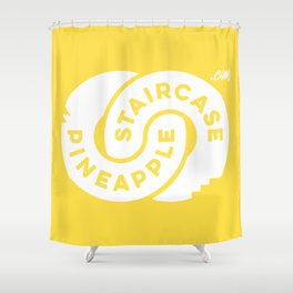 PineappleStaircase | Official Logocolor 2016 in Yellow/White Shower Curtain
