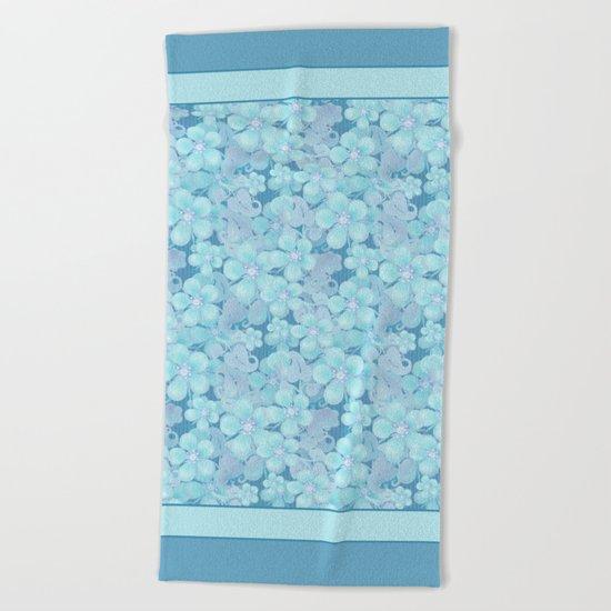 Light blue floral pattern . 1 Beach Towel
