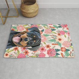 Rottweiler floral pet portrait dog breed gifts for pure breed dog lovers Rug