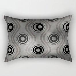 Pantone Pewter, Bold Circle Rings & Wavy Line Pattern Rectangular Pillow