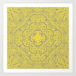Illuminating Yellow & Ultimate Gray Pattern Art Print