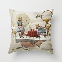 tea Throw Pillows featuring tea time by Heather Landis