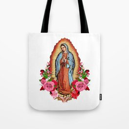 Our Lady of Guadalupe with roses Tote Bag