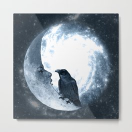 The crow and its Moon. (bcn art version) Metal Print