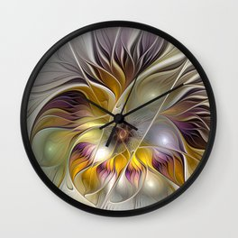 Abstract Fantasy Flower Fractal Art Wall Clock