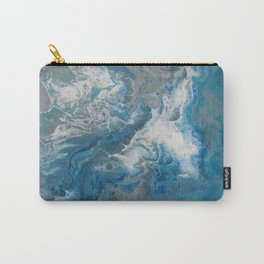Blue Waves, abstract poured acrylic, blue, white, silver and black Carry-All Pouch