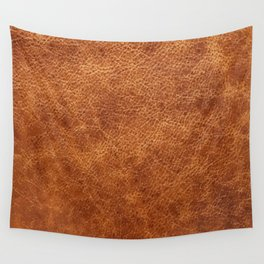 Brown vintage faux leather background Wall Tapestry
