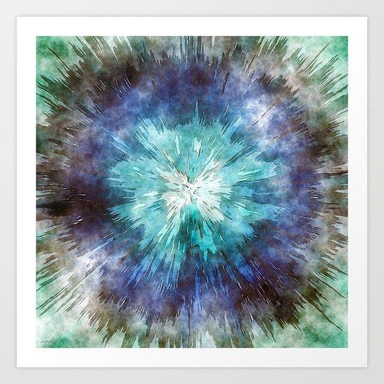 Hues of Blue Tie Dye Art Print