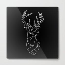 Geometric Stag (White on Black) Metal Print