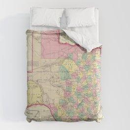 Vintage Map of Texas (1856) Comforters