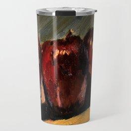 Three Apples on a Ledge Travel Mug