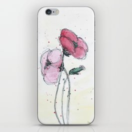 Poppies painting watercolor and black ink illustration iPhone Skin