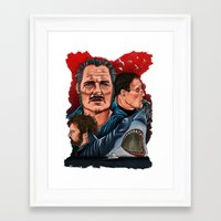 jaws Framed Art Prints featuring JAWS by David Amblard