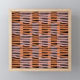Contemporary Retro Abstract Fibres Pink Orange & Black Pattern Framed Mini Art Print