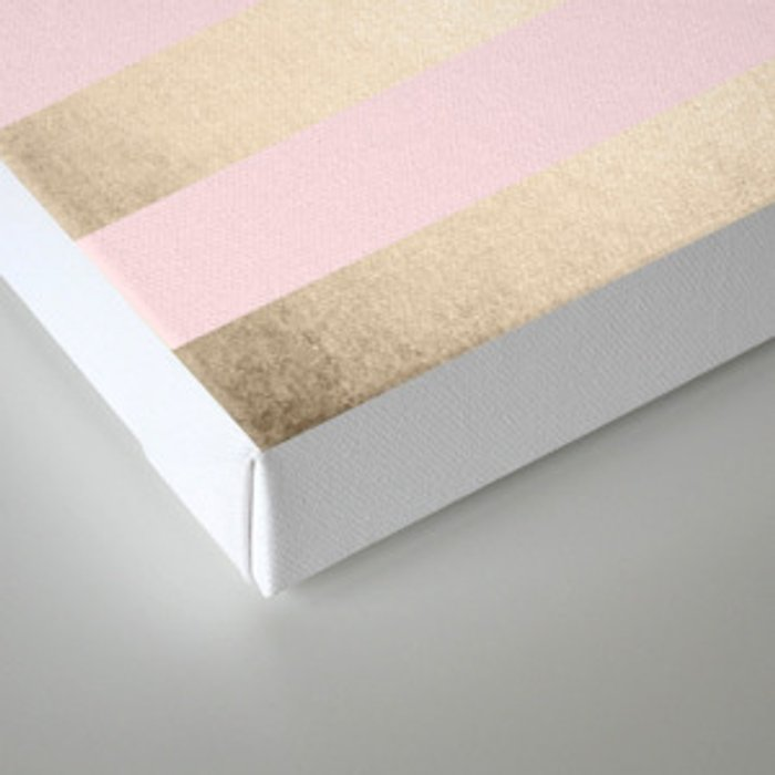 Simply Striped in White Gold Sands and Flamingo Pink Canvas Print