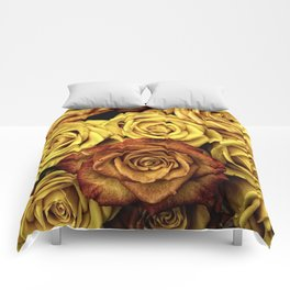 Golden Yellow Roses Pattern (Color) Comforters