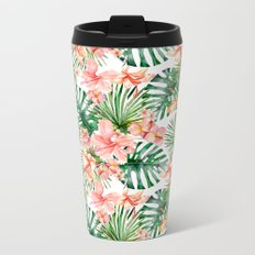 Tropical Jungle Hibiscus Flowers - Floral on #Society6 Metal Travel Mug