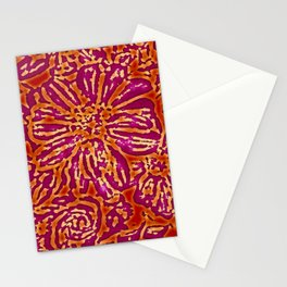 Marigold Lino Cut, Batik Red And Purple Stationery Cards