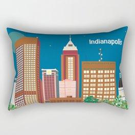 Indianapolis, Indiana - Skyline Illustration by Loose Petals Rectangular Pillow