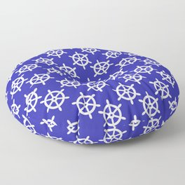 Ship Wheel (White & Navy Blue Pattern) Floor Pillow