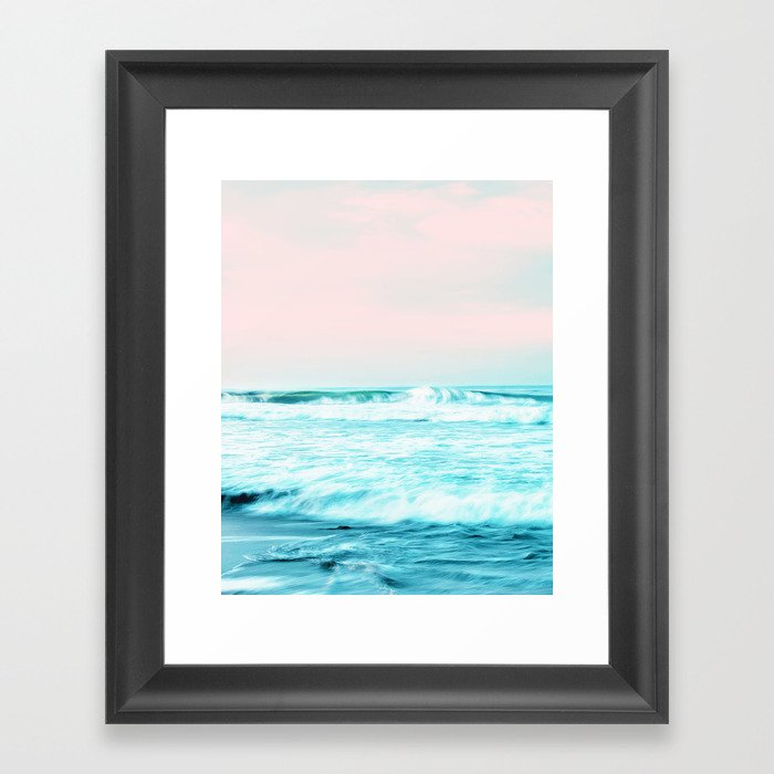 Sun. Sand. Sea, Tropical Nature Ocean, Landscape Travel Photography, Summer Pastel Blush Graphic Gerahmter Kunstdruck