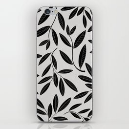 Black and White Plant Leaves Pattern iPhone Skin