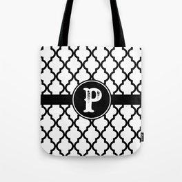 Black Monogram: Letter P Tote Bag