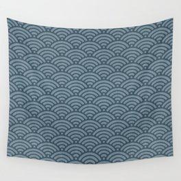 Blue Indigo Denim Waves Wall Tapestry