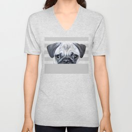 pug Dog illustration original painting print Unisex V-Neck