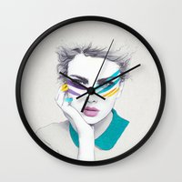 war Wall Clocks featuring War Paint Sally by Jenny Liz Rome