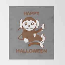 Dead Monkey Happy Halloween Throw Blanket
