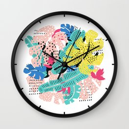 Tropical floral pattern Wall Clock