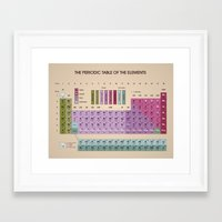 periodic table Framed Art Prints featuring Periodic Table of Elements by dalmingo
