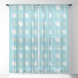 Silver Poplar Leaves Pattern Sheer Curtain