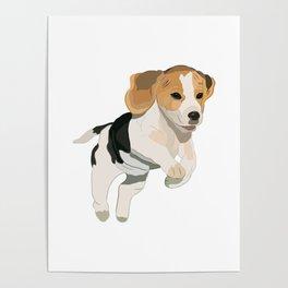 Beagle Art, beagle puppy, digital painting Poster