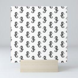 Seahorses (Grey & White Pattern) Mini Art Print