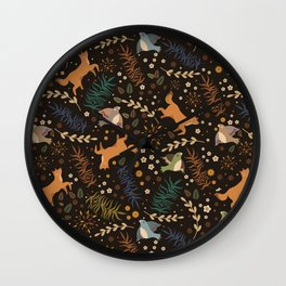 Autumn Woodsy Floral Forest Pattern With Foxes And Birds Wall Clock