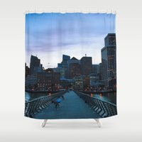 metropolis Shower Curtains featuring Metropolis by Pan Kelvin