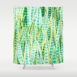 green snake plant pattern Shower Curtain