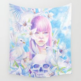 Angel or Devil - Dove, Lily, Skull Wall Tapestry