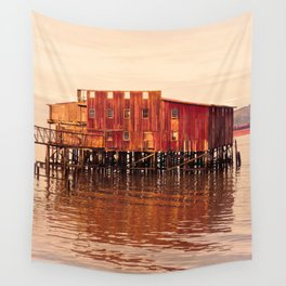 Old Red Net Shed, Building on Pier, Columbia River, Astoria Oregon Wall Tapestry