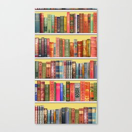 Christmas books antique vintage library Canvas Print