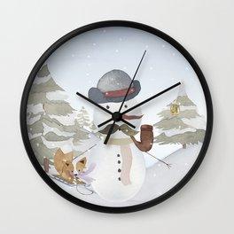 Winter Wonderland - Funny Snowman and friends - Watercolor illustration III Wall Clock