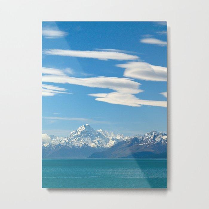Mount Cook and Lake Pukaki Metal Print