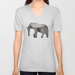 Black Watercolor Elephant Unisex V-Neck