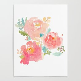 Watercolor Peonies Summer Bouquet Poster