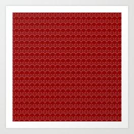 kitty pattern print in red Art Print