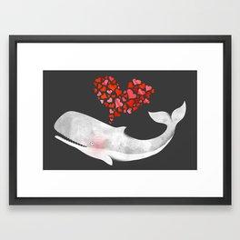 Whale in love Framed Art Print