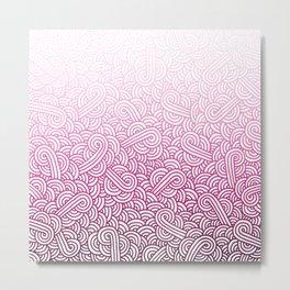 Gradient pink and white swirls doodles Metal Print