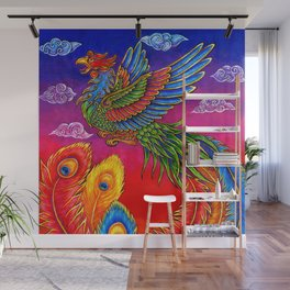 Colorful Fenghuang Chinese Phoenix Rainbow Bird Wall Mural